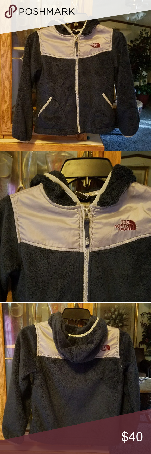 North Face Denali Boy's Blue & Gray North face Denali  With hood Good condition  Size S 7/8 North Face Jackets & Coats