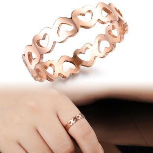 G40 도매 새로운 보석 골드 도금 독특한 한국어 디자인 라인 석 더블 하트 손가락 반지 높은 품질 약혼 반지