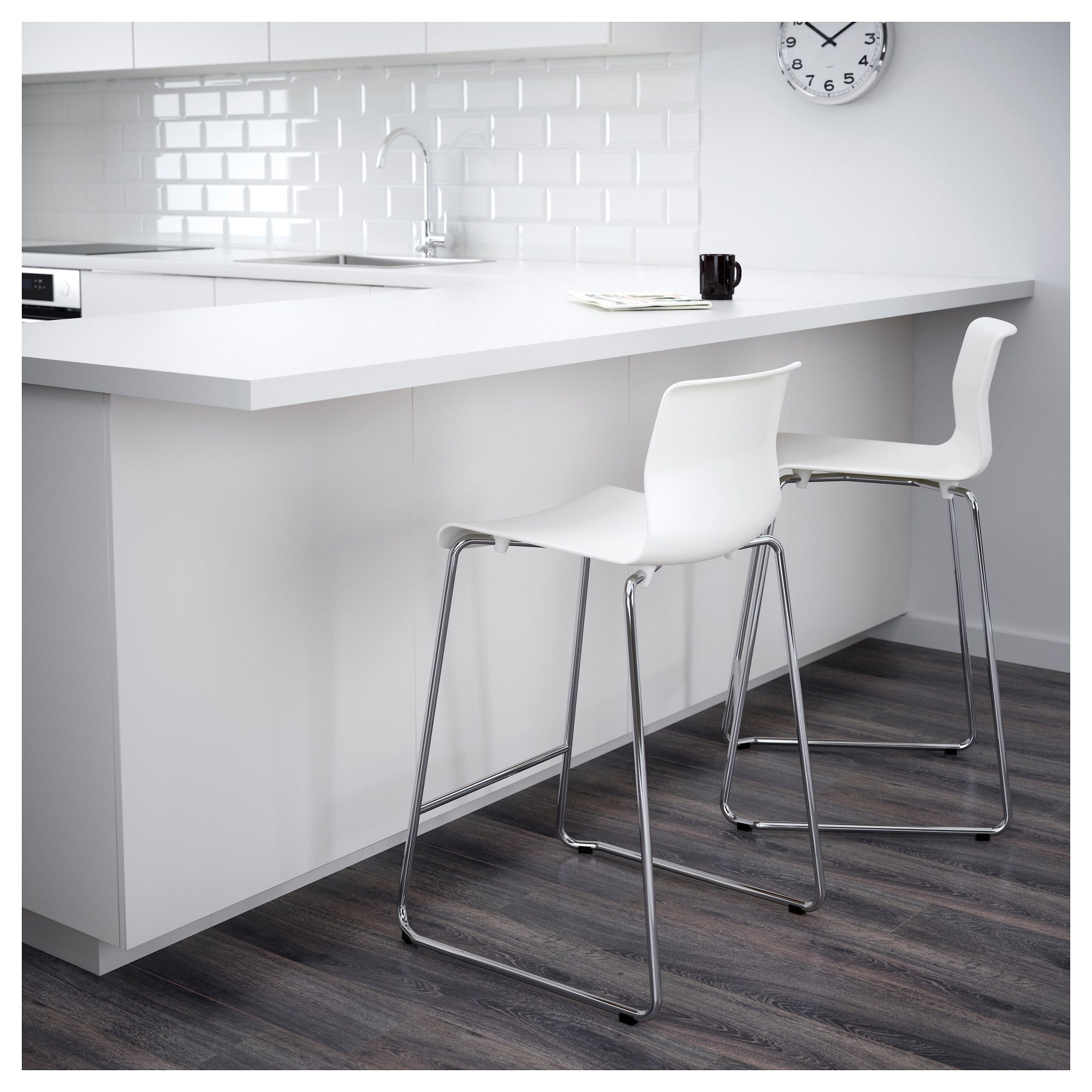 Ikea Glenn Bar Stool White Chrome Plated Products In