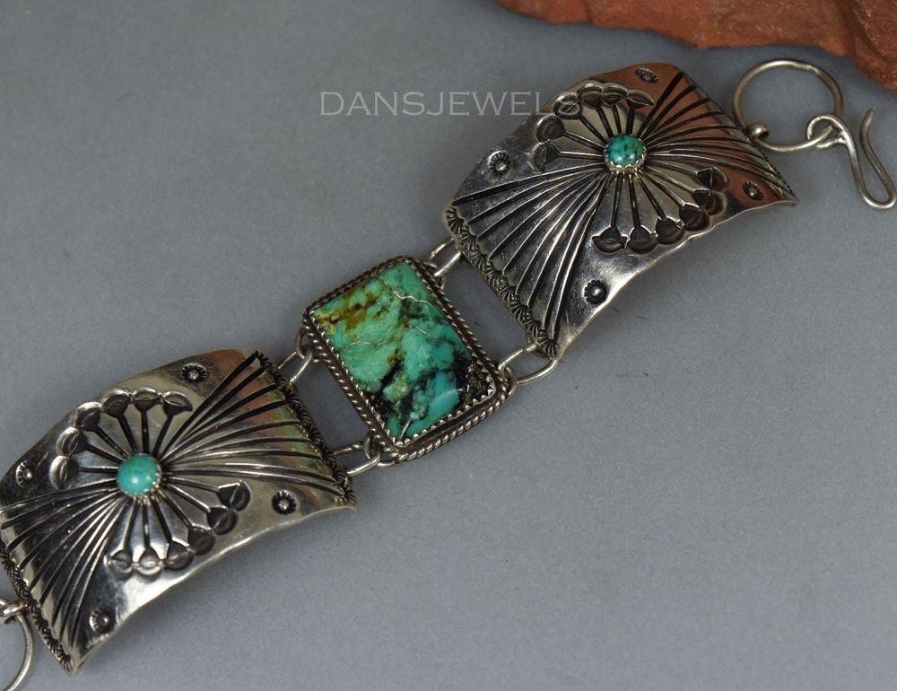 Vintage Old Pawn Navajo Fred Harvey Era TURQUOISE & Sterling Panel Bracelet