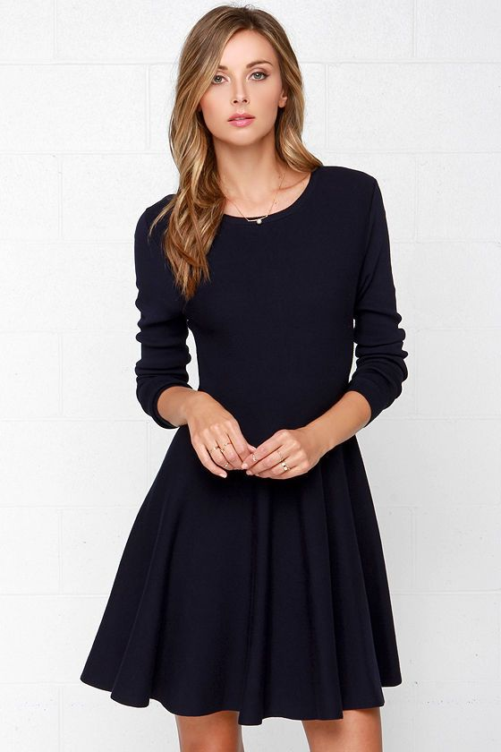 09441600abf Glamorous Fair Weather Navy Blue Sweater Dress