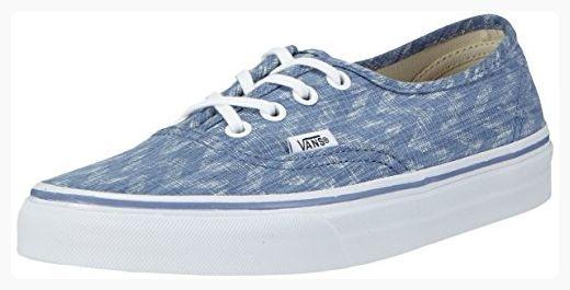 91cb37bd727f1 Vans Authentic (Denim Chevron Blue/True White) Women's Shoes-6 ...