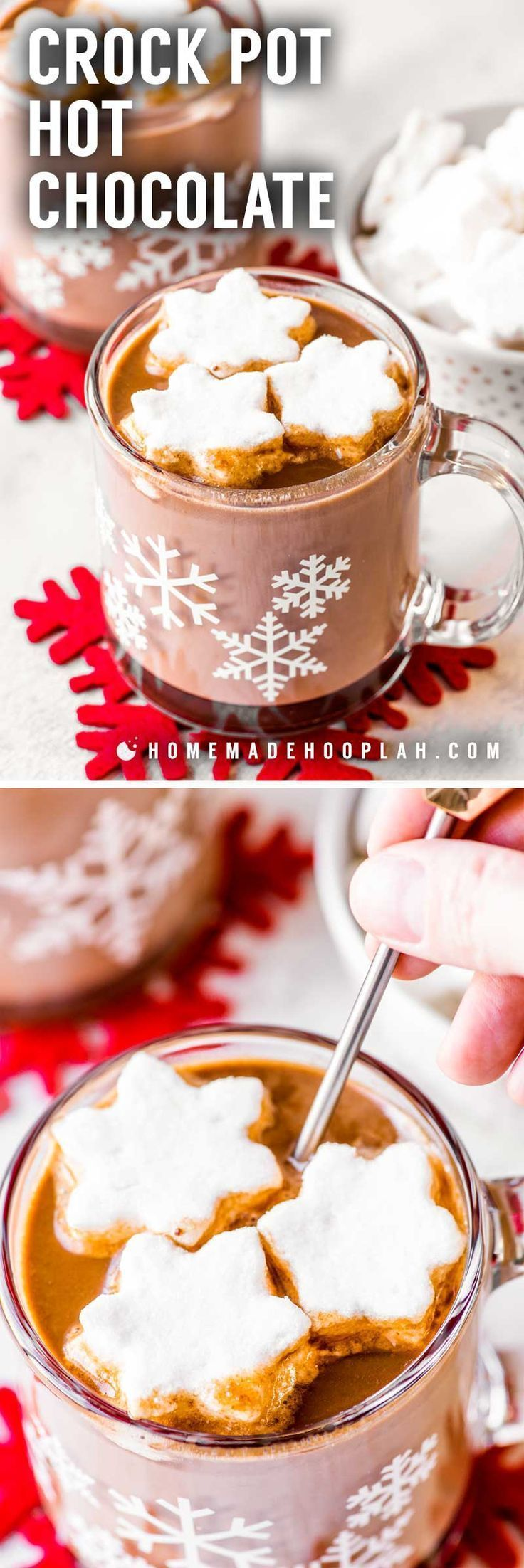 Crock Pot Hot Chocolate! Warm up this winter season with a creamy hot cup of chocolate made in a crock pot. This easy recipe is completely hands-off and perfect for limiting your time off the couch or out of bed. Garnish with mini marshmallows for the best sugar therapy! | HomemadeHooplah.com #healthymarshmallows