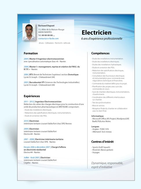 exemple de cv simple electricien