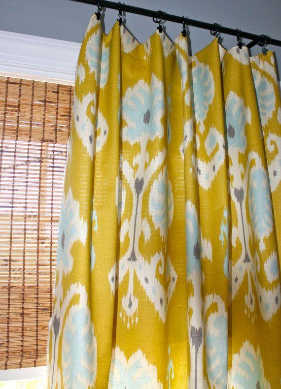 Citron, Blue, Grey And White Ikat Curtain Panel / Designer Custom Drapery  In Caftan