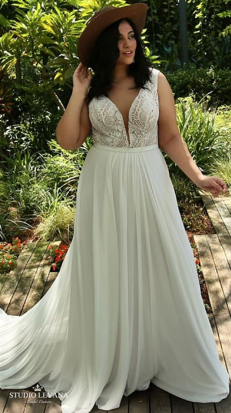 Boho plus size wedding gown with unique vintage lace