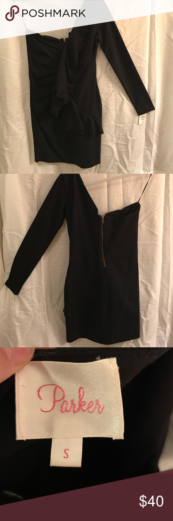 Black parker one long sleeve ruffle dress nwt