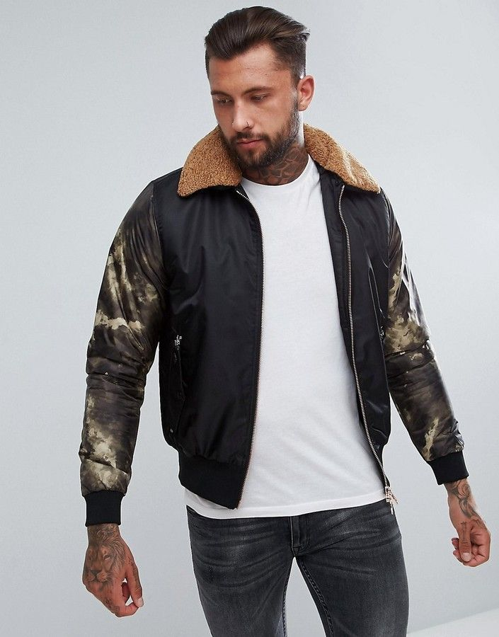 Luke 1977 Billy Biggles Faux Shearling Collar Bomber Jacket in Black Asos  Men 695290fc53a0