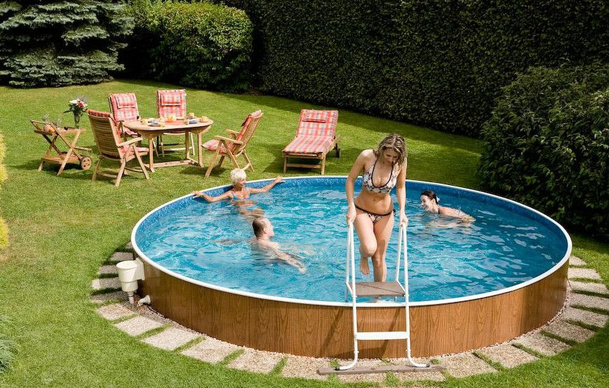Above Ground Pool Ideas Backyard find this pin and more on pools ideas sturdy bottom area for small above ground pools Backyard Swimming Pools Above Ground