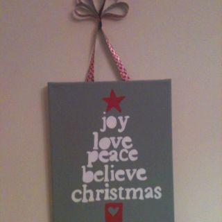Christmas presents for the boys teachers ... $3 for the canvas, paint, and ribbon. Can't beat that!!!