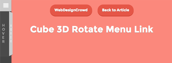 Menu effect with animated 3D cube links on hover  | Web