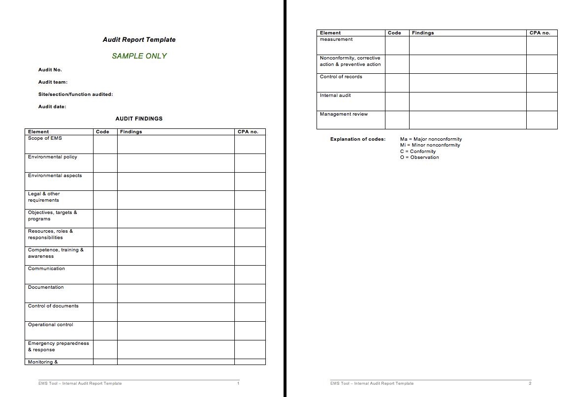 Free Audit Report Template Http Resumesdesign Com Free Audit Report Template