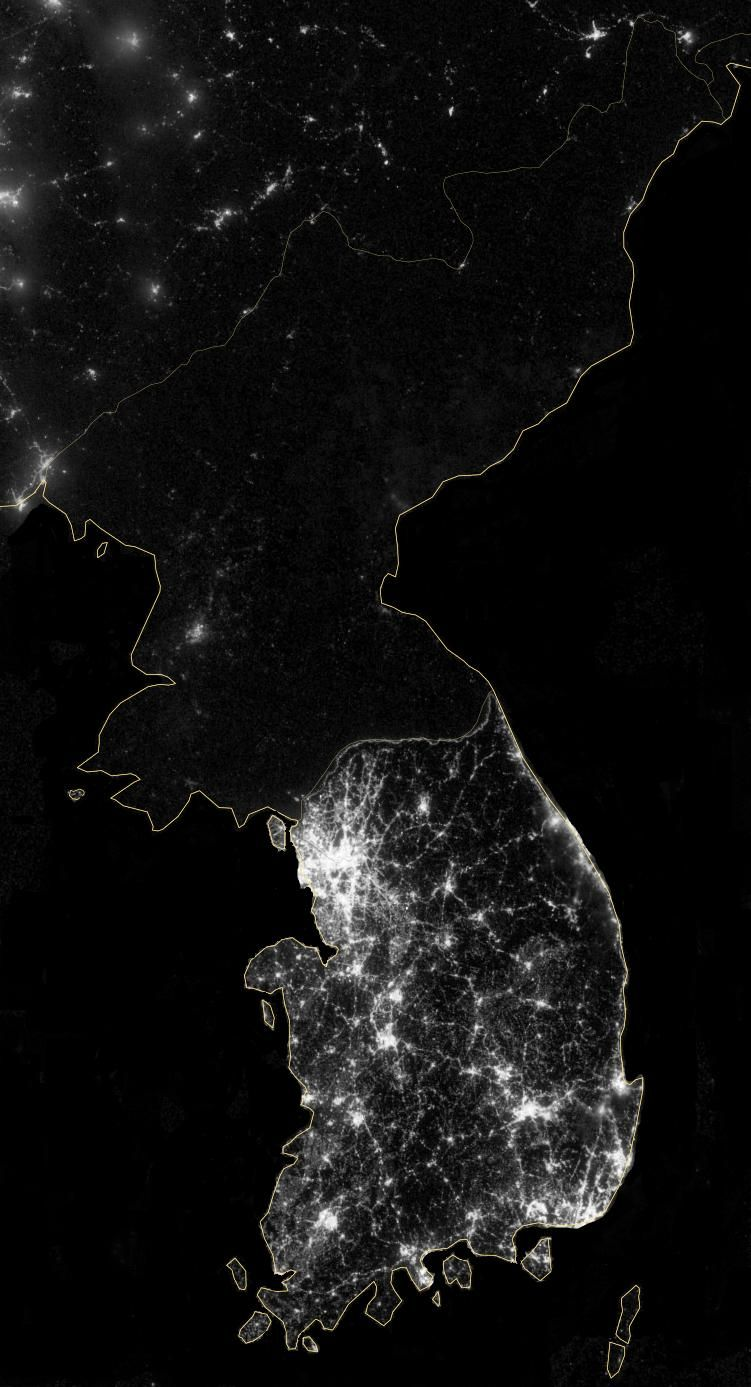 Satellite Picture Contrasting North And South Korea At Night Stars