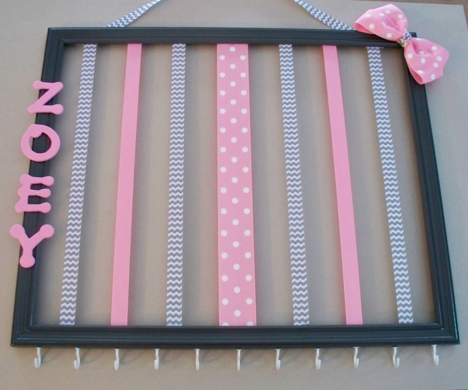 14x17 Personalized Picture Frame Hair Bow And Headband