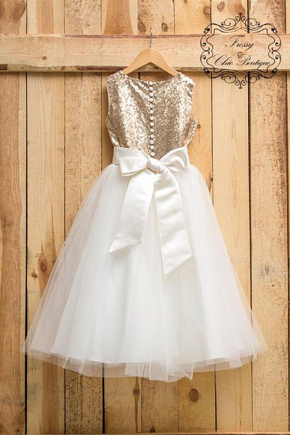 c820f0b5c Sparkly dresses for girls gold flower girl dress sequin ivory tulle lace  dress. This gorgeous