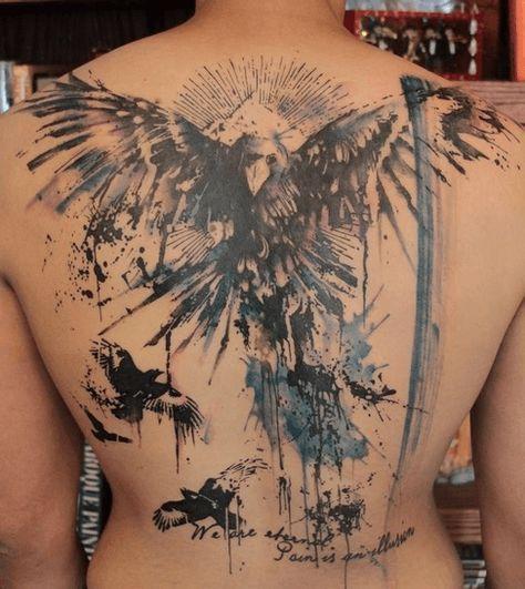 tatouage corbeau back ravens pinterest tatouage. Black Bedroom Furniture Sets. Home Design Ideas