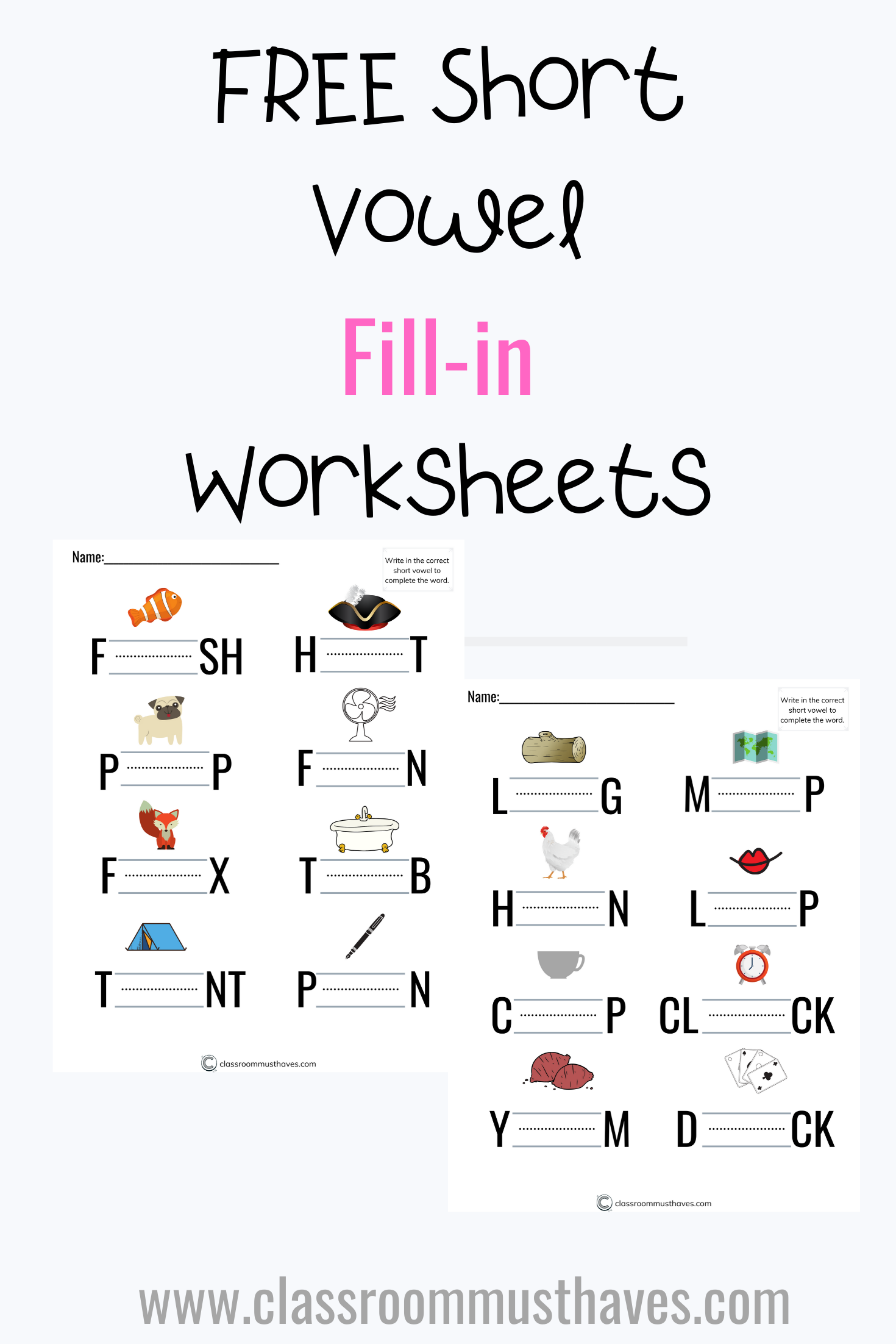 Free Short Vowel Review Worksheets In