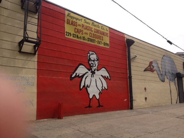 Colonel Sanders with a chicken body in Williamsburg.