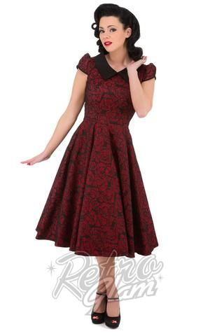 Hearts and Roses Crimson Rose burgundy Party Dress black lace overlay with pointed collar