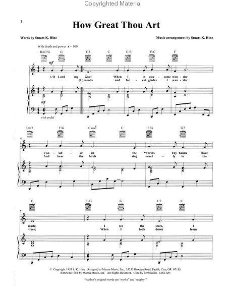 How Great Thou Art Sheet Music How Great Thou Art 40 Favorite