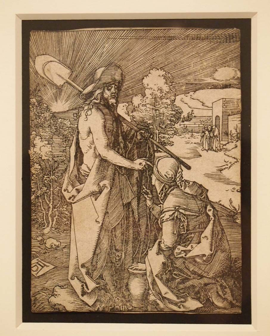 """""""Christ Appears to Mary Magdalene as a Gardener (Noli Me Tangere), ca. 1508-1510"""" Albrecht Dürer, German, 1471-1528 Woodcut Overall: 5 x 3 13/16 in. (12.7 x 9.6838 cm) The Nelson-Atkins Museum of Art"""