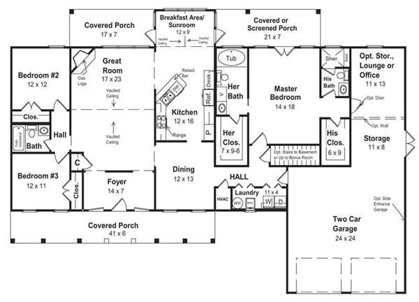 country home plan - 3 bedrms  3 baths - 2100 sq ft