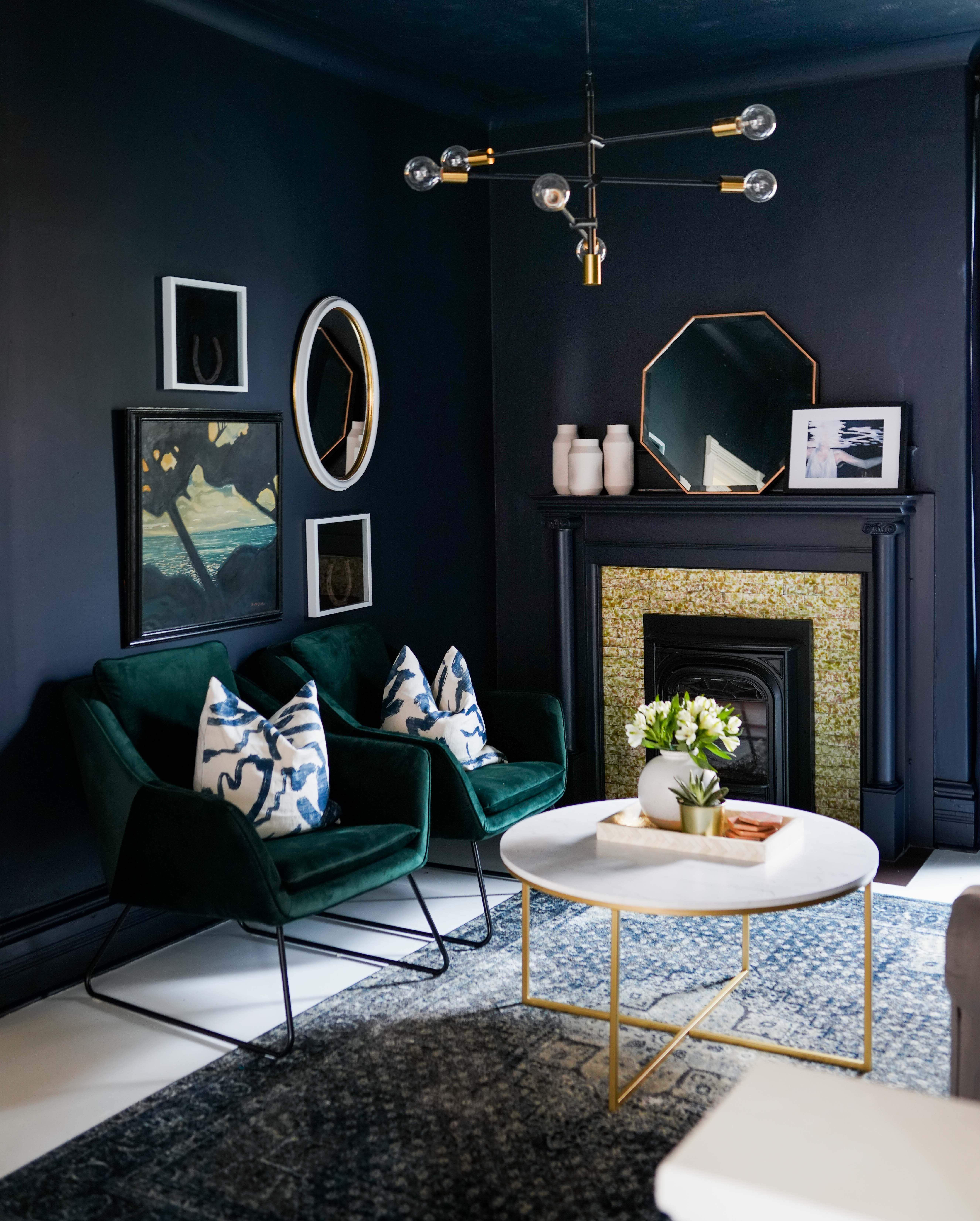 Best Green Velvet Chairs And Dark Blue Moody Walls One Room 400 x 300