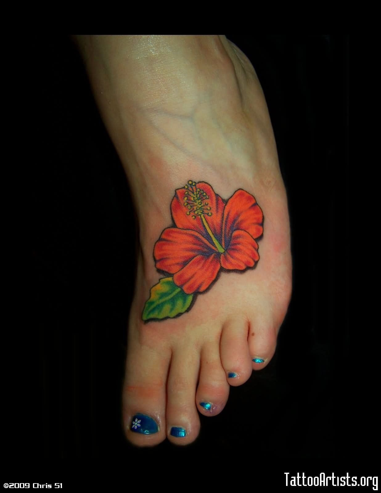 24 Hibiscus Flower Tattoos Designs Trends Ideas: Classic Hibiscus Flower Tattoo On Girl Left Foot By Chris