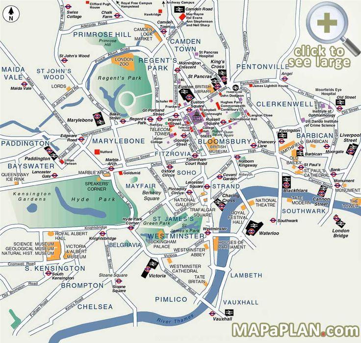 Best Map of London   Popular destination spots - London top tourist attractions map