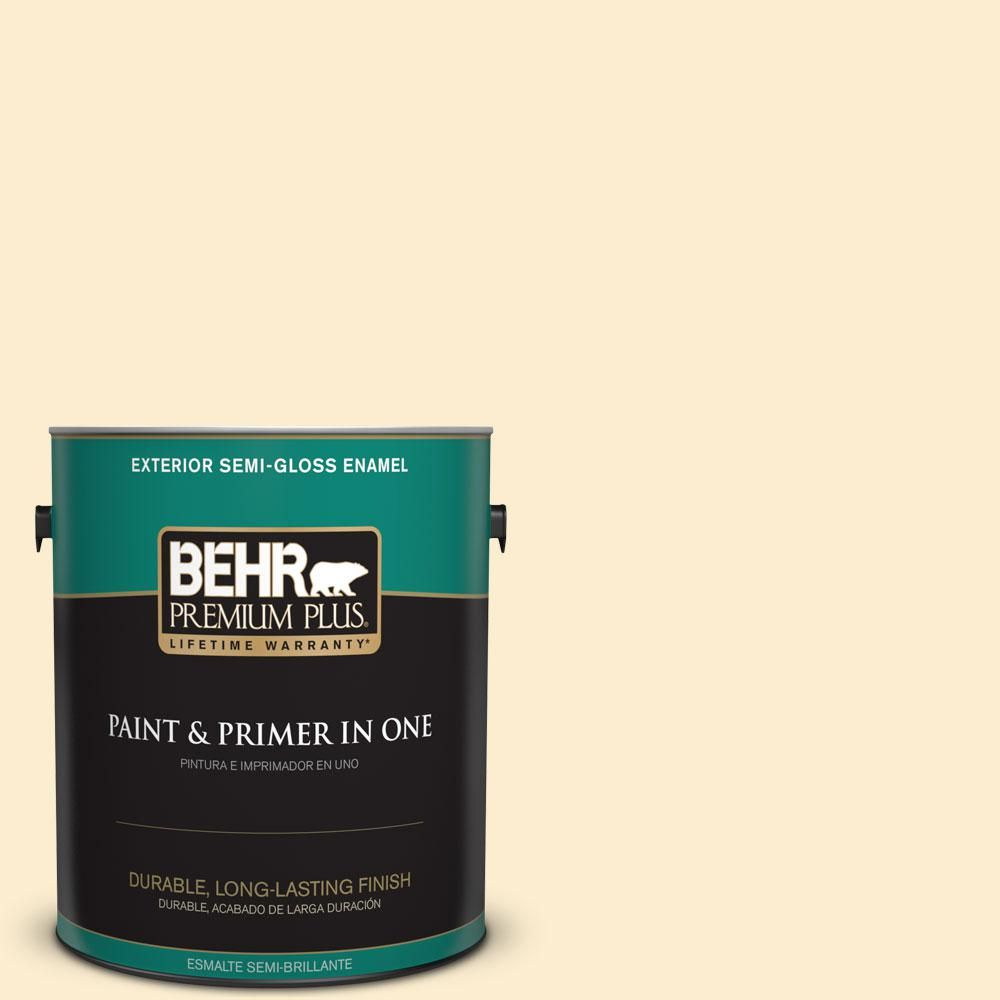 BEHR Premium Plus 1-gal. #ppl-68 Summer Moon Semi-Gloss Enamel Exterior Paint