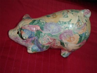 "Dining glazed #paper_mache #pig VGU  Made of paper mache and glazed   This little fellow appears to be hunched down having a bite to eat   This item measures 4 1/2"" (11.4 cm) high (foot to tip of tail) x 7"" (17.8 cm) (snout to rear) x 3 11/16"" (9.4 cm) deep   A cute little companion that is good for decoration or a low maintenance pet    09292011RITT54B"