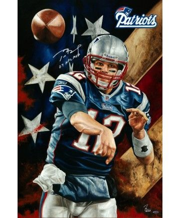 Football Player Tom Brady Unstoppable Canvas Painting With Authentic Autograph Size 2 New England Patriots New England Patriots Football Patriots Football