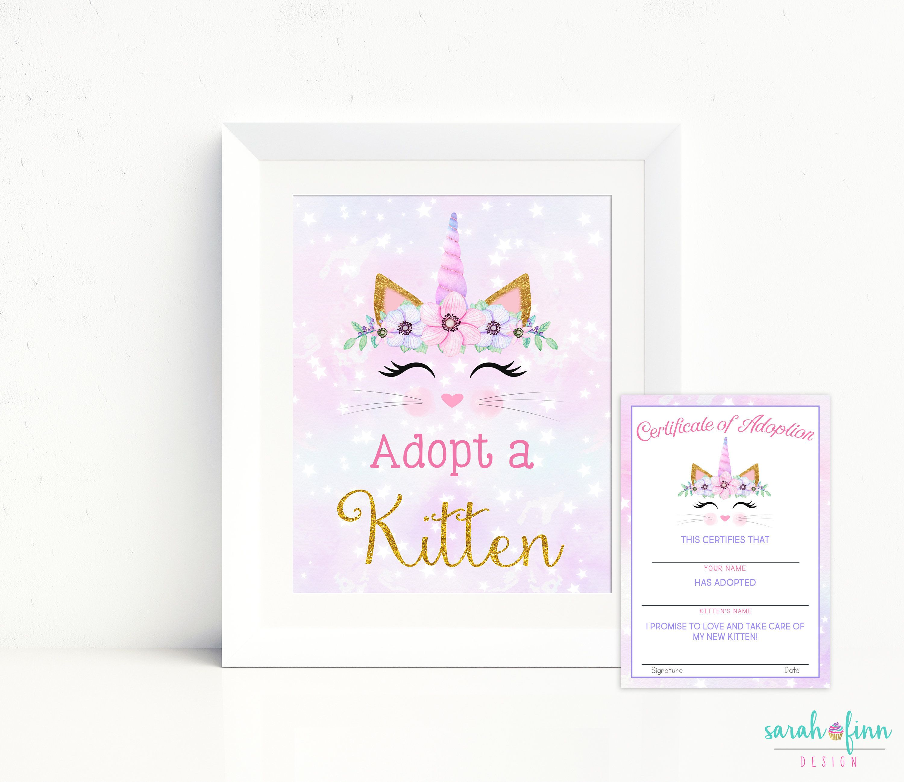 Adopt A Kitten Sign And Certificate Caticorn Printable Cat Etsy In 2020 Kitten Adoption Cat Birthday Adoption Signs