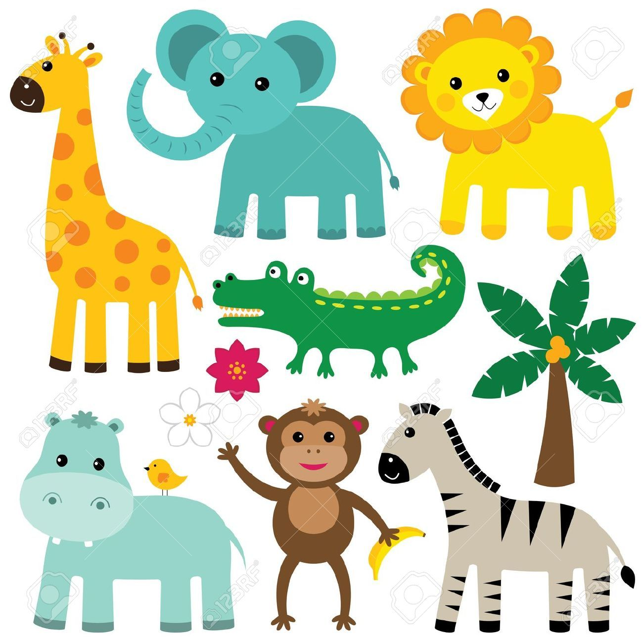 Cute Jungle Animal Vector Free - cute jungle animals clip art ...