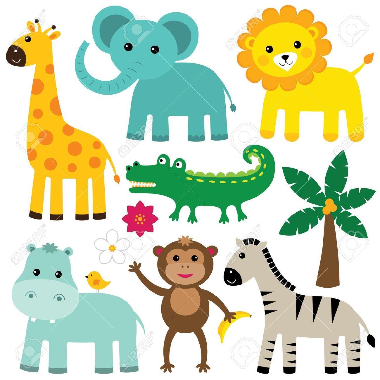 Cute Jungle Animal Vector Free - cute jungle animals clip art ...
