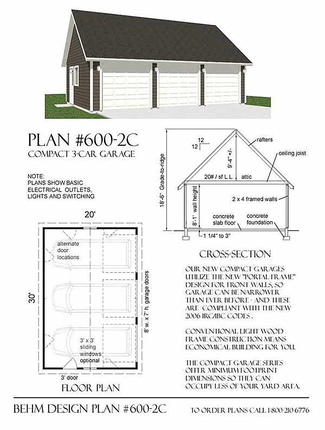 Garage Plans 2 Car 600 2c 30 X 22 Three Car Garage Plan By Behm Design Garage Plans Three Car Garage Plans 3 Car Garage Plans