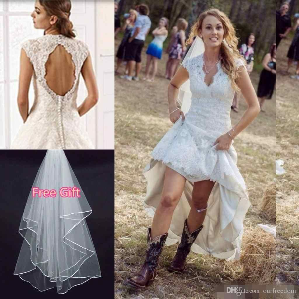 Rustic Country High Low Wedding Dresses With Lace Hi Lo Skirt Sexy V ...