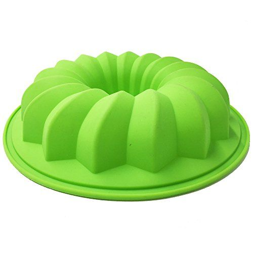 Ivykin Baking Accessories Silicone Bundt Pan 9 8inch Nonstick Silicone Cake Mold Green For Fluted Tube Cake Cake Molds Silicone Baking Accessories Cake Mold