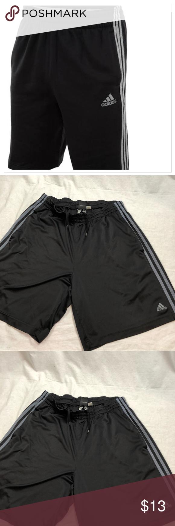 "dcab7f4b0b48 Adidas Men Black Grey Stripes Climate Shorts Sz L Adidas Men Large Black  Grey Stripes Climate Athletic Shorts Gently Used Length 20"" Adidas Shorts  Athletic"