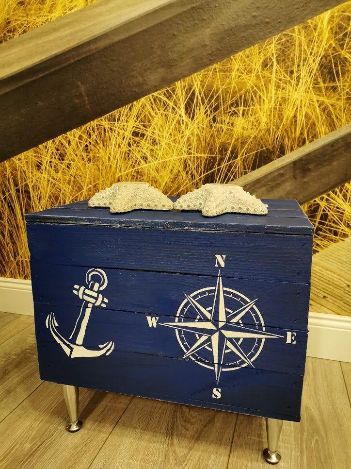 Maritime Truhe Windrose Anker Couchtisch Schatzkiste Holztruhe Telefontisch Beistelltisch Holzkiste Mit Deckel Aufbewahrung Holzkiste In 2020 Maritime Toy Chest Decor