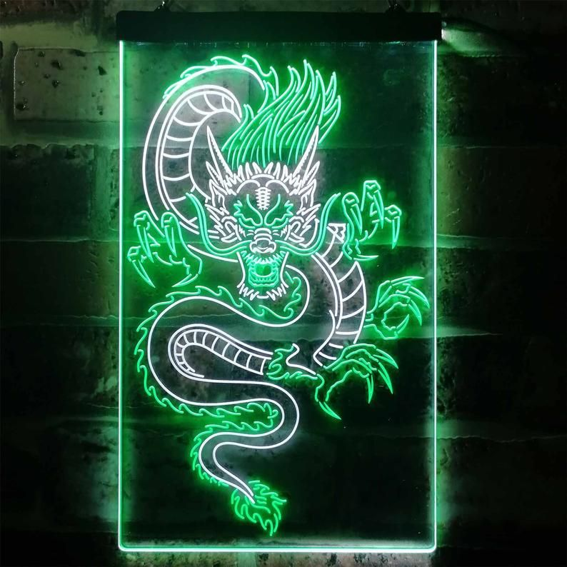 Chinese Dragon Room Display Dual Color Led Neon Sign St6 I3225 Neon Sign Art Sign Art Dark Green Aesthetic Cool green dragon wallpapers
