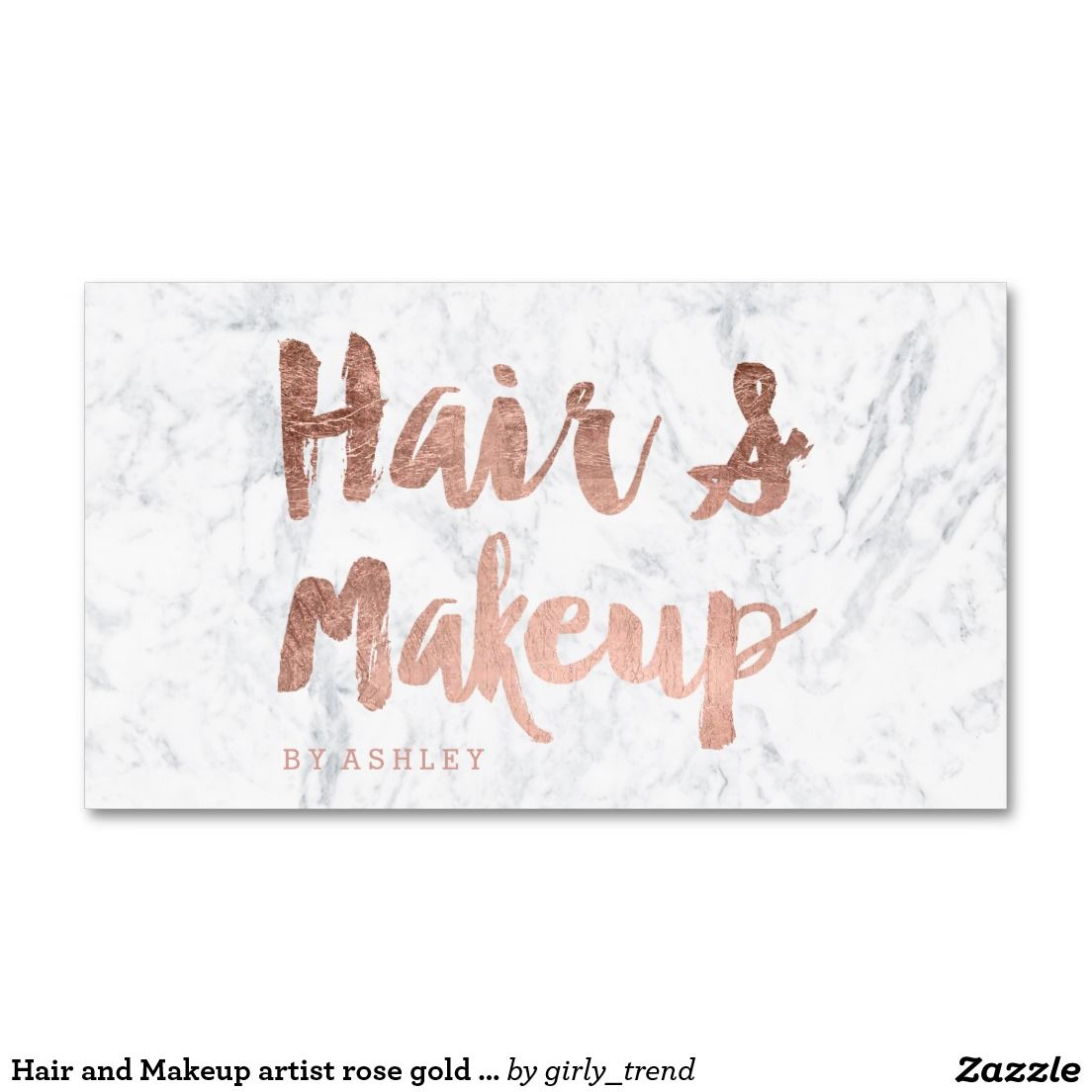Hair and Makeup artist rose gold typography marble Business Card ...