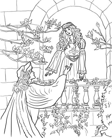 Romeo and juliet coloring pages free ~ Romeo Say to Juliet on the Balcony Coloring page in 2019 ...