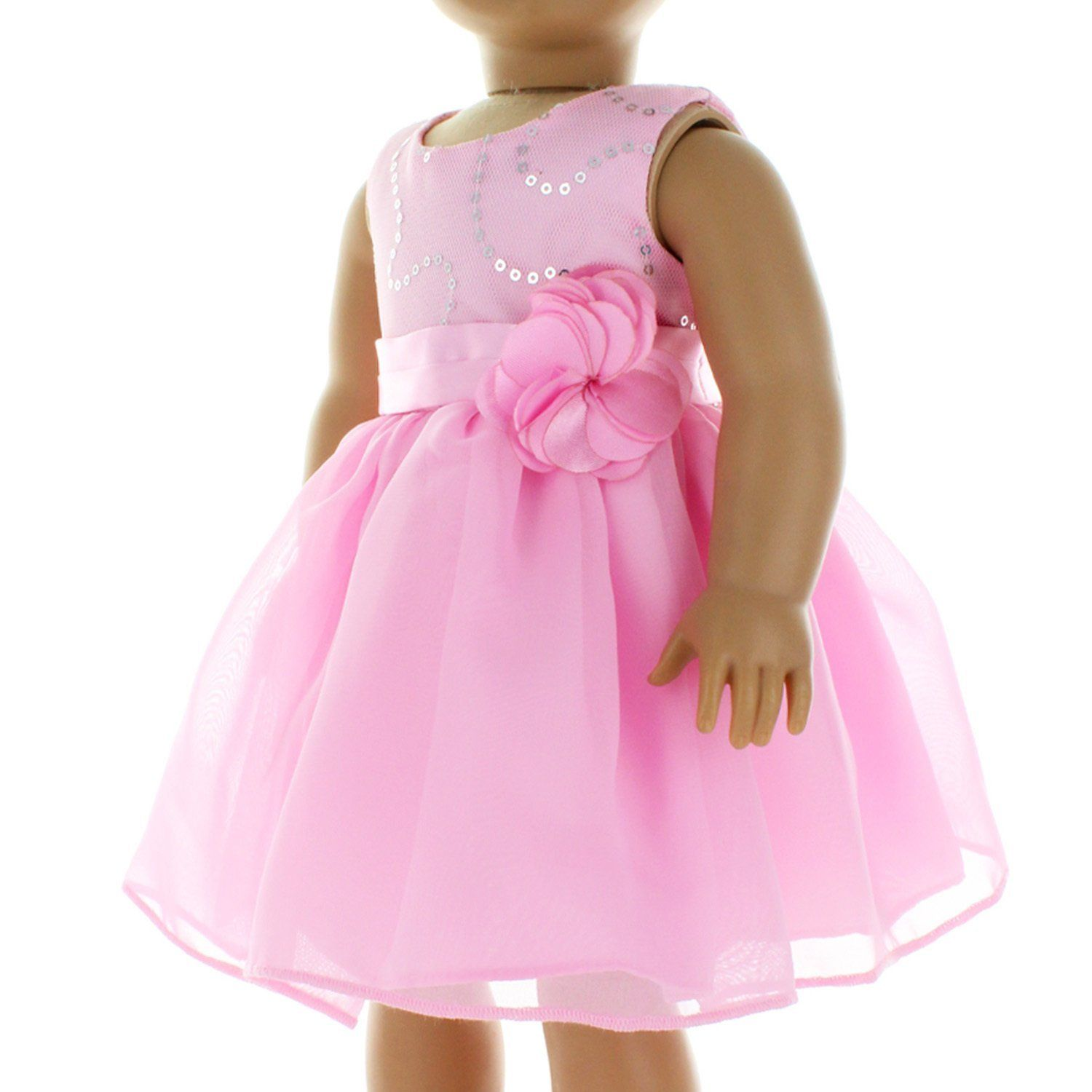 Pink dress shirt for women  Amazon Doll Clothes  Pink Dress Clothes with Flower Belt Fits