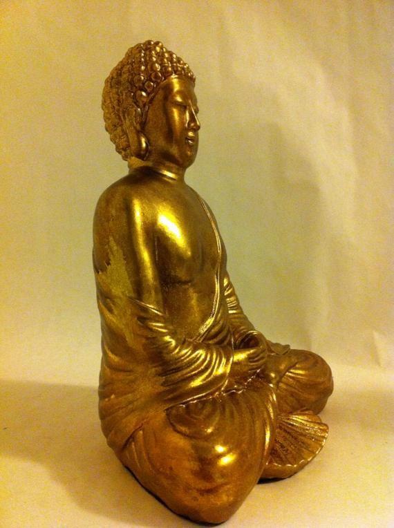 Gold Buddha Statue - Meditating Buddha - Zen Buddha Decor - Spiritual Decor - Asian Home Decor - Sitting Buddha Decor - Yoga Decor #buddhadecor