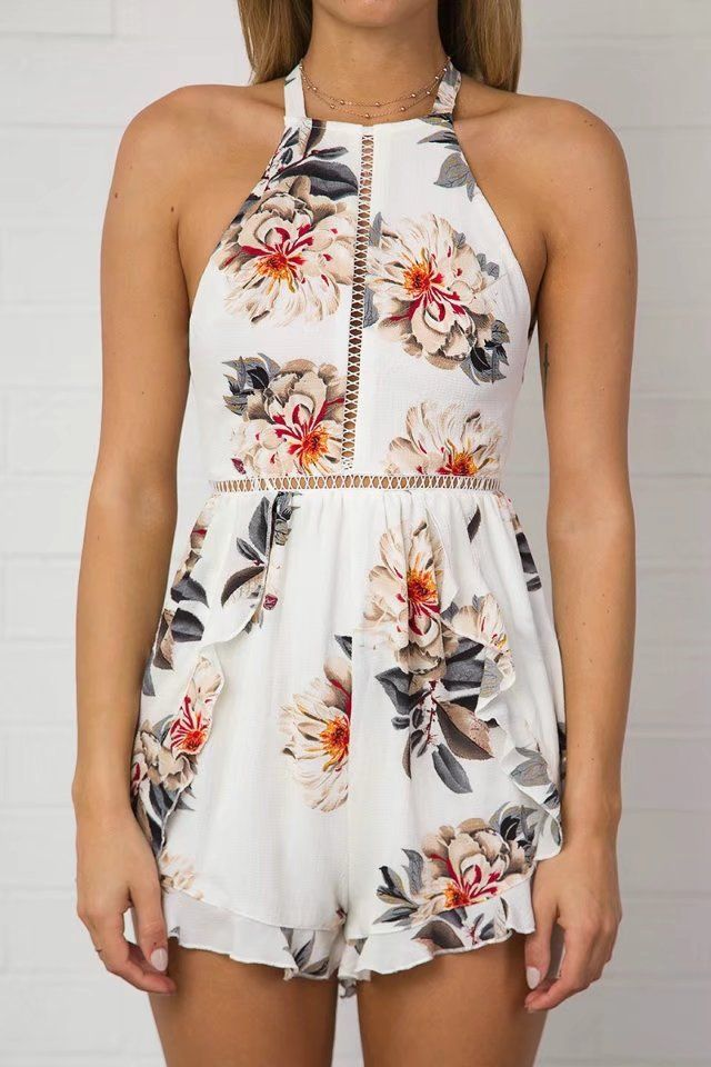 0d7d4a4bb77 Halter Neck Backless Sleeveless Floral Printed Casual Romper ...