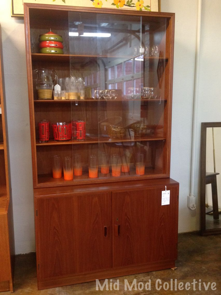 Danish teak veneer hutch. Available now at Mid Mod Collective. Email midmodcollective@gmail.com for more info. SOLD!