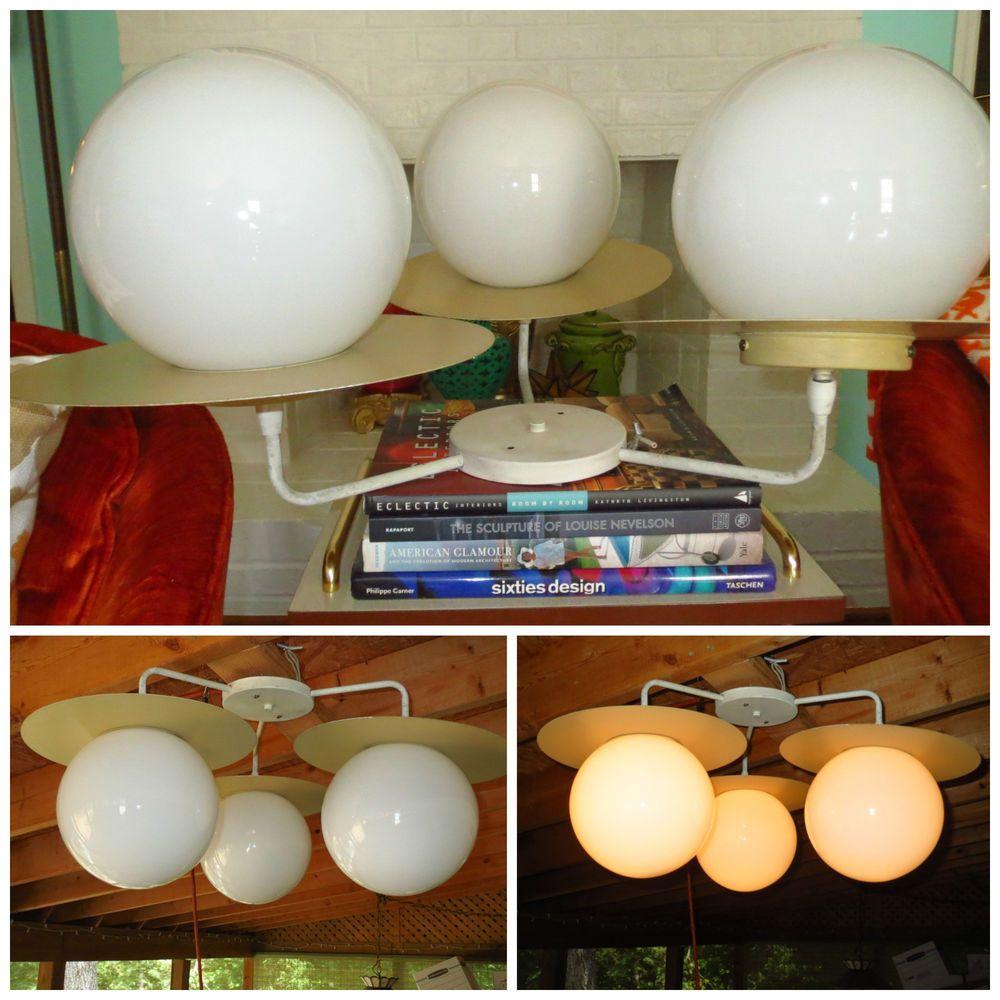 VTG 1950s MID Century Modern Atomic Space Age Flying Saucer Globe Light Fixture