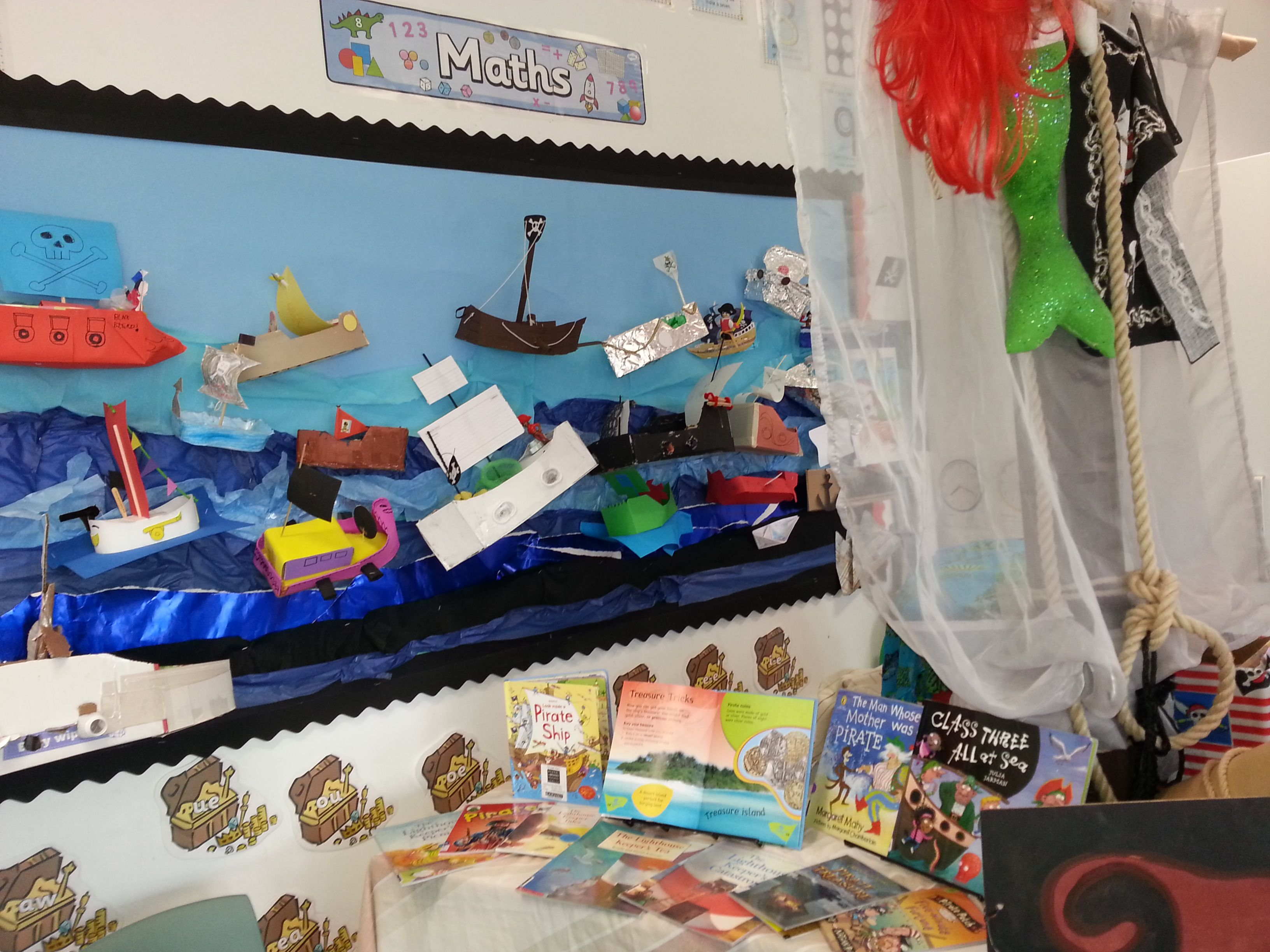 The children made pirate ships as part of their homework.