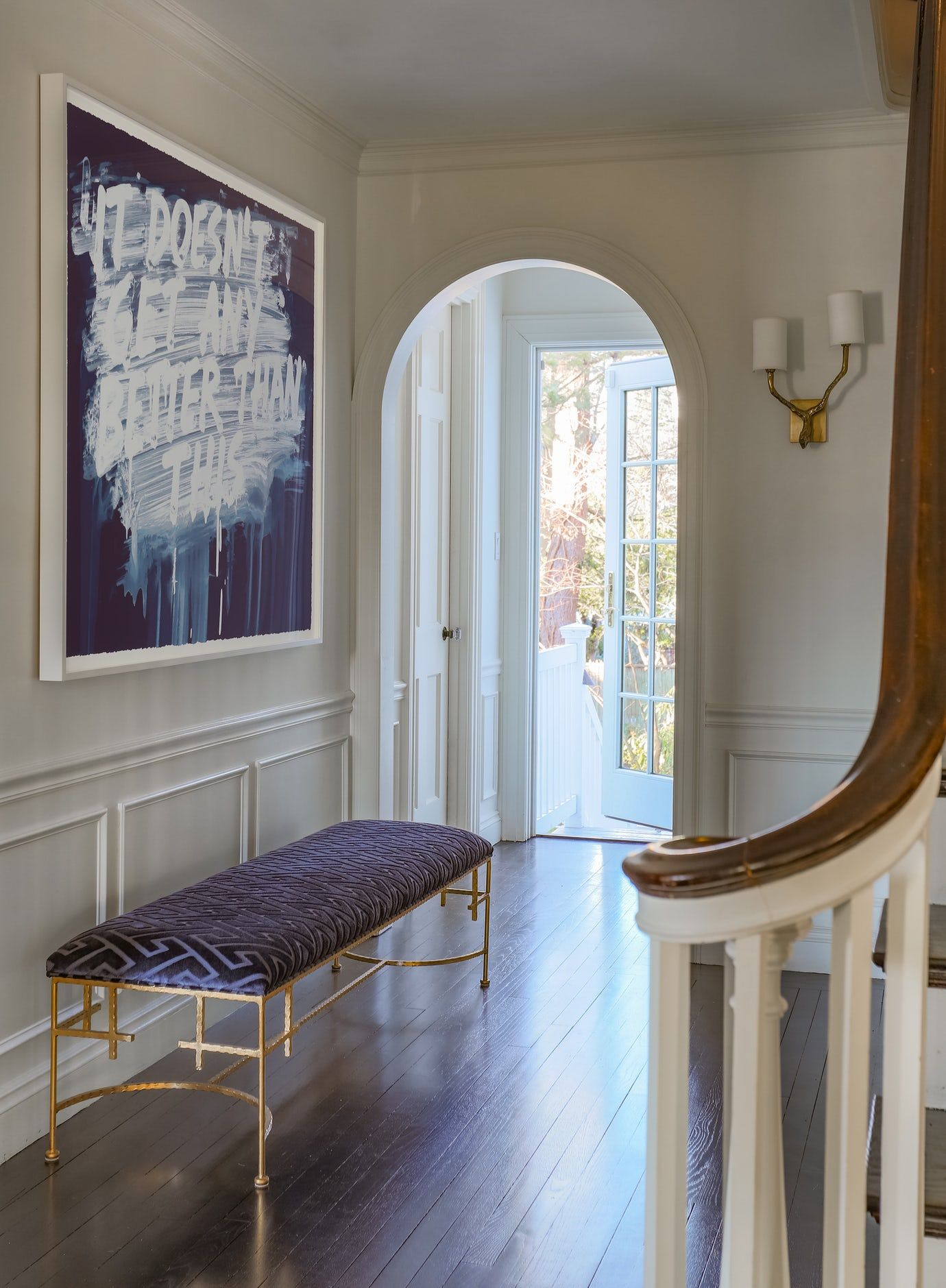 Modern Entry with Contemporary Art and Gold Leaf Bench ...